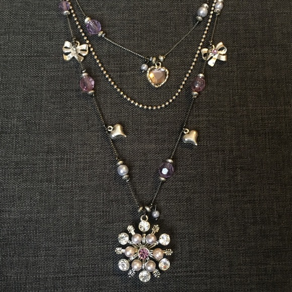 Betsey Johnson triple string snowflake necklace